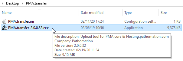 Launching PMA.transfer from the Windows explorer